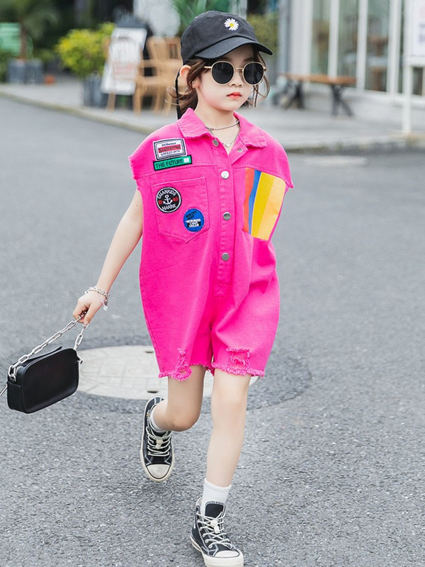 Womens childrens one-piece pants 2020 summer new Korean version of Jumpsuit shorts, foreign style loose fashion, sleeve less one-piece clothes