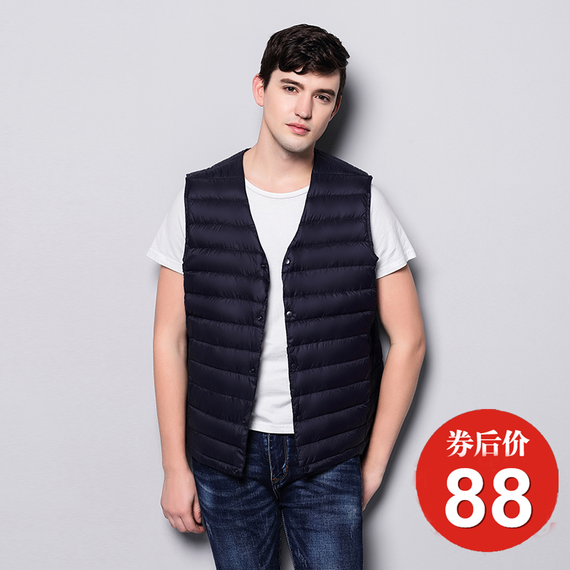 2019 new collarless down inner vest mens fall and winter light down jacket youth large waistcoat