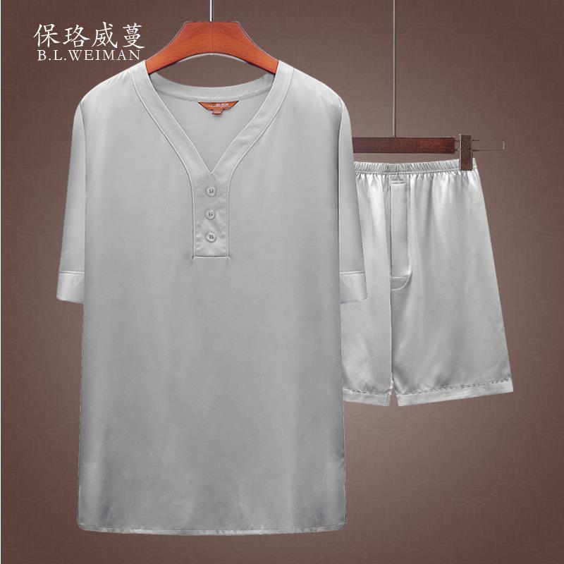Mulberry silk mens short sleeve T-shirt ice silk suit middle-aged dad thin summer dress real silk satin mens dress