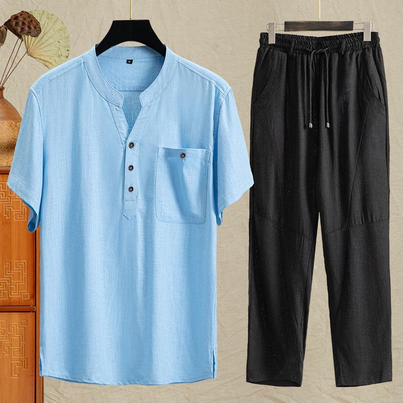 Mens short sleeve cotton and hemp Tang suit Chinese style pure color thin linen T-shirt half sleeve V-neck middle-aged and elderly dads suit