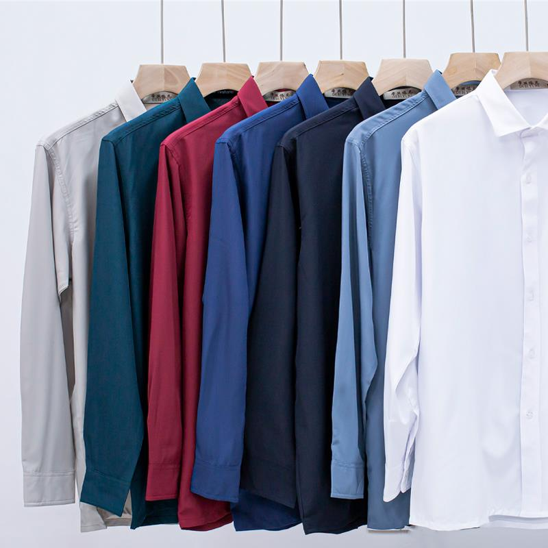 Long sleeved shirt mens middle-aged and elderly dads casual loose no iron shirt thin grandpas ice silk solid color clothes