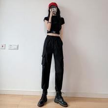 休闲束脚工装裤女夏薄款2020显瘦高腰宽松百搭黑色运动直筒哈伦潮
