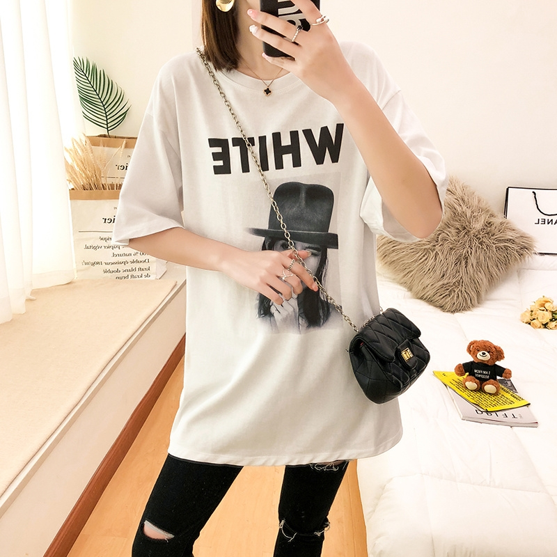 Summer 2020 new ins fashion fashion mid long loose European large size womens Short Sleeve T-Shirt