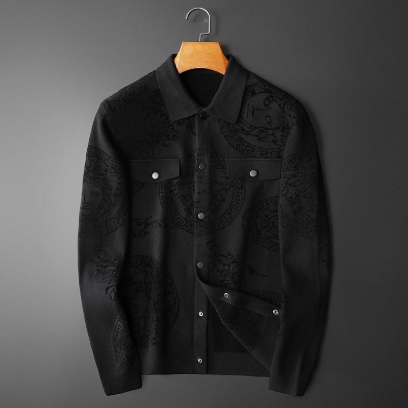 男装2021秋季新款潮牌美杜莎修身韩版针织衫男士开衫毛衣翻领外套
