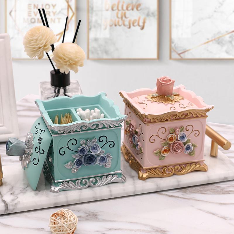 牙签盒欧式带盖树脂棉签盒牙签盒家用创意组合套装化妆棉收纳盒
