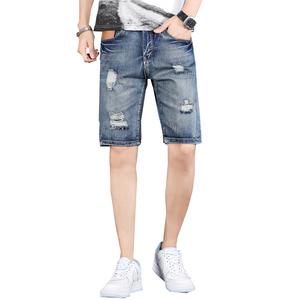 牛仔短裤男夏季宽松直筒五分中裤子