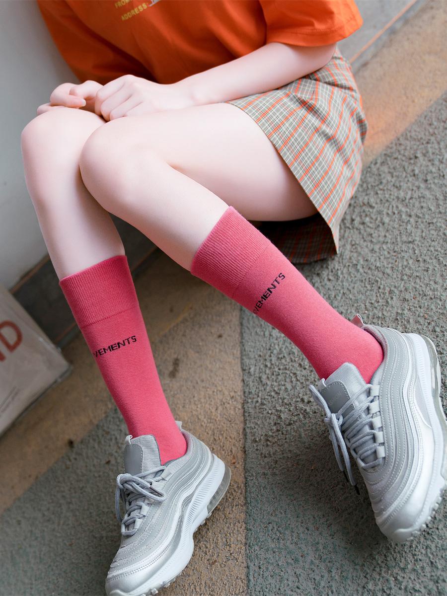 薄款长筒高袜子女中筒袜ins潮网红韩国夏季彩色堆堆袜小腿袜长袜