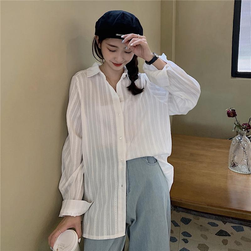 White Long Sleeve Shirt womens summer lazy style versatile chic top design sense of minority loose sunscreen Stripe Shirt