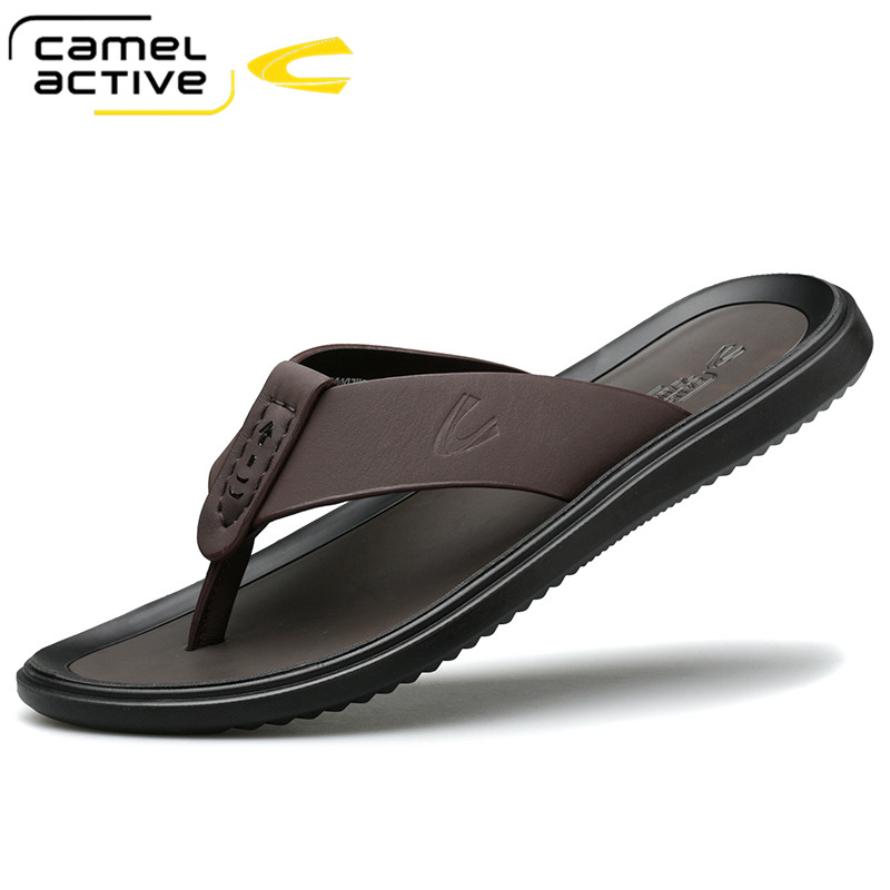 德国骆驼动感人字拖男夏季潮鞋男士真皮拖鞋个性时尚凉拖休闲男鞋