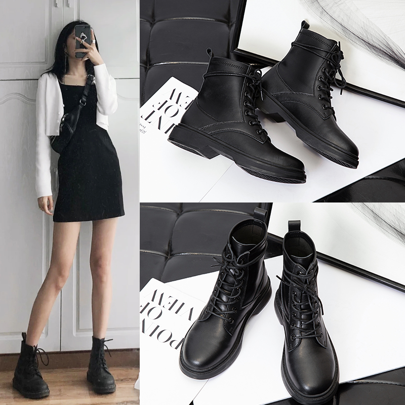 Leather Martin boots womens British style 2020 new autumn shoes autumn versatile fashion ins thick soled flat heel thin short boots