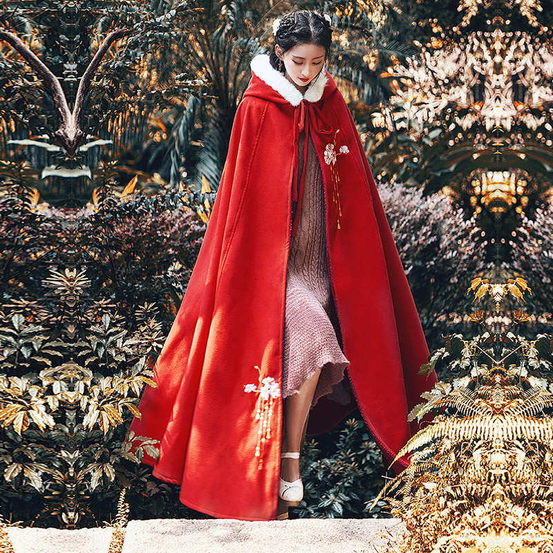 Qianchengxue [cherish drunk face] cloak female antique embroidered coat extended winter thickened warm cloak Hanfu