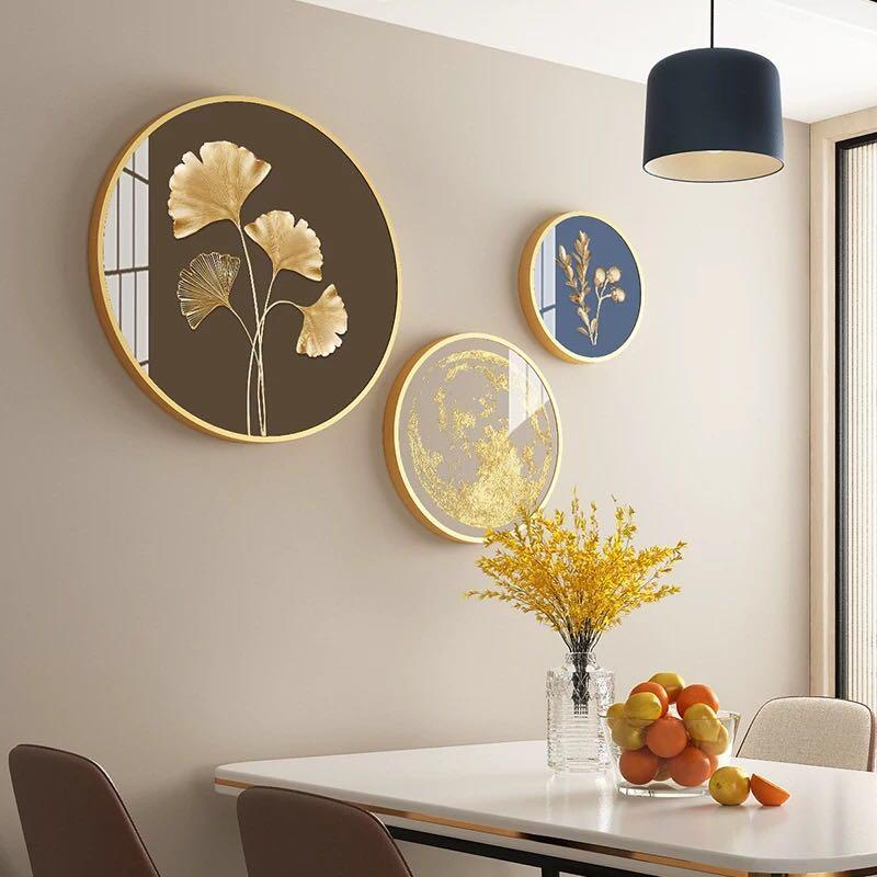 北欧餐厅装饰品饭厅背景墙面挂饰圆形轻奢风电视墙上三联挂件大气