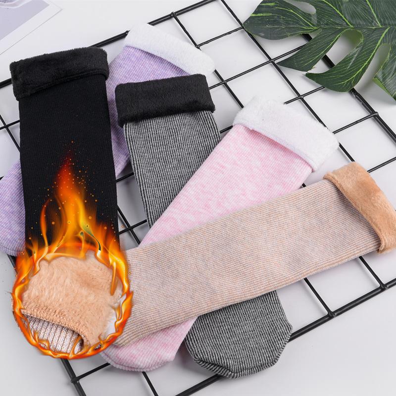 冬季袜子女保暖雪地袜加绒加厚竖条中筒袜居家地板袜厚毛短袜靴袜