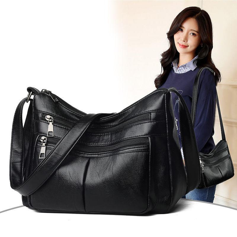 真皮质感妈妈包包女2020新款软皮单肩斜挎包大容量简约中年女包