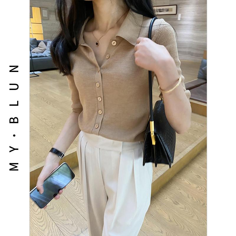 法式短款polo领上衣卡其色衬衫领开衫针织外套女羊毛衫V领打底衫