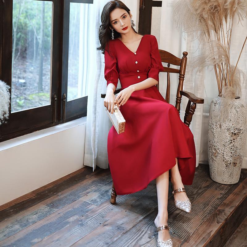 敬酒服酒红色平时可穿结婚衣服订婚小礼服连衣裙日常新娘回门服