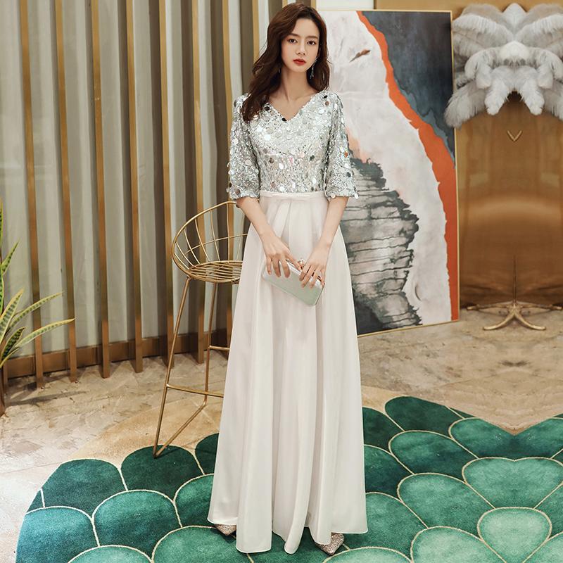 晚礼服女宴会18成人礼连衣裙长款白色优雅主持人独唱大合唱演出服