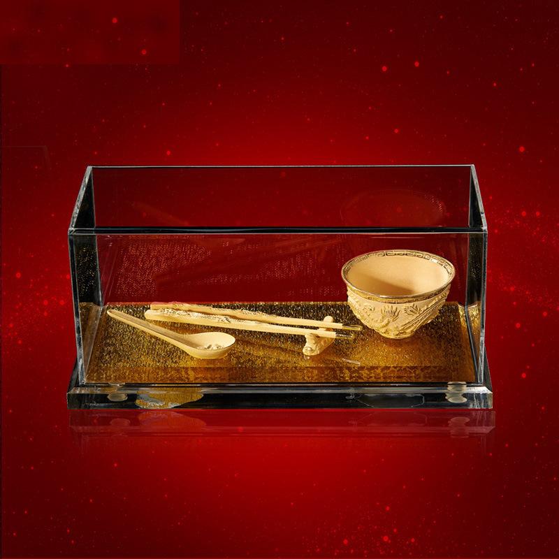 抖音新款绒沙金富贵龙凤金碗金勺金筷摆件高档商务创意工艺品