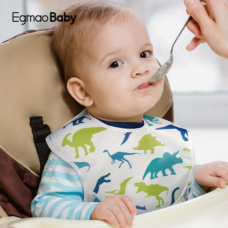 Egmaobaby宝宝吃饭围兜防水饭兜婴儿口水围兜夏季薄款防脏神器2条