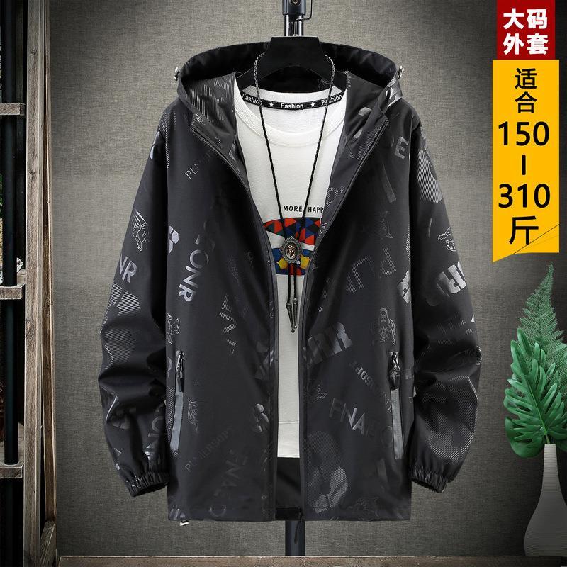 胖子外套男加肥加大春秋季潮流特大码风衣400斤超大号9夹克10x260