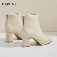 查看达芙妮高跟短靴女春秋靴子女粗跟瘦瘦靴冬季高跟鞋方头米色马丁靴价格