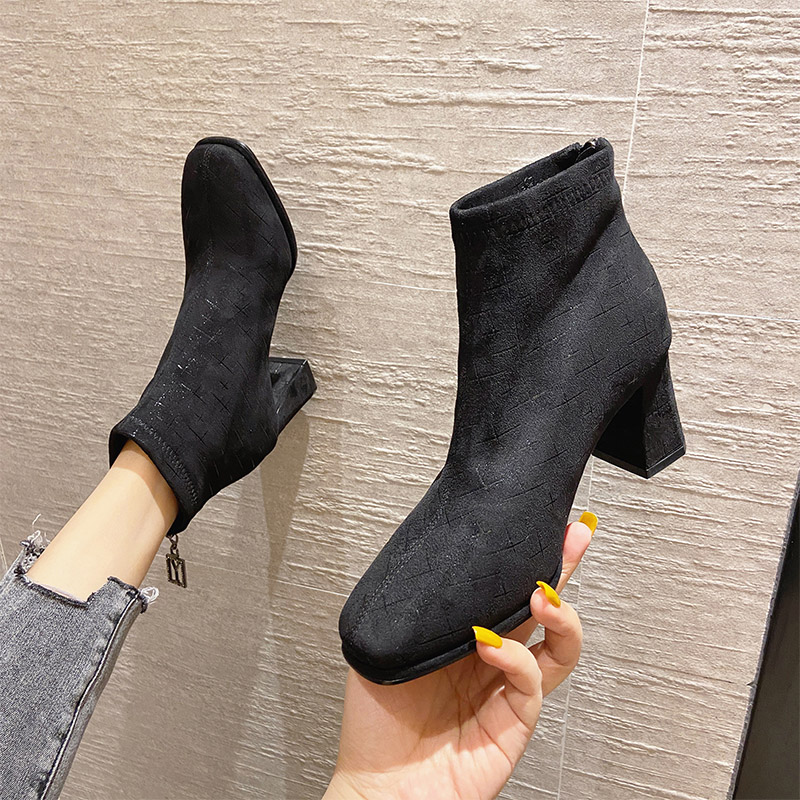 2020 new versatile autumn thin square head high heel short boots womens thick heel Martin boots spring and autumn single boot British style