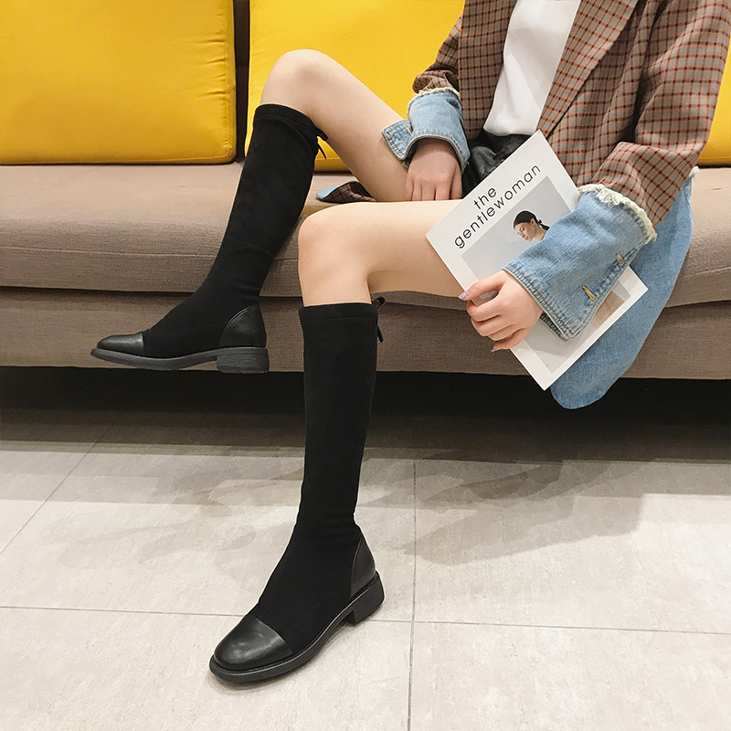 Autumn 2020 new style boots womens shoes round head show thin flat bottomed boots leather thin legs not over the knee elastic boots trend