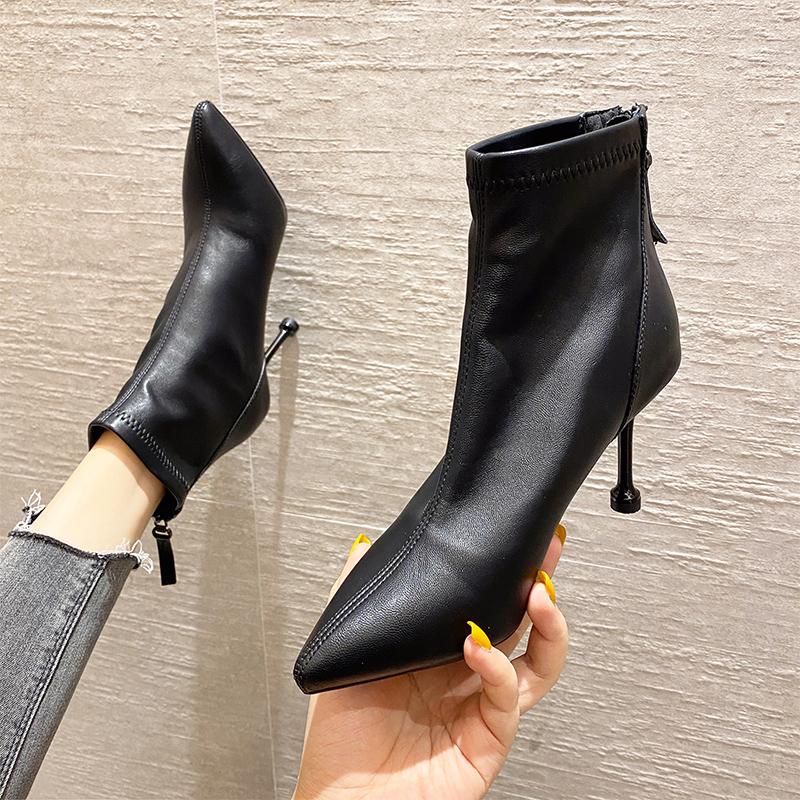 European and American pointed womens short boot womens fashion fashion high heel slim heel back zipper Martin boots fashion in autumn 2020