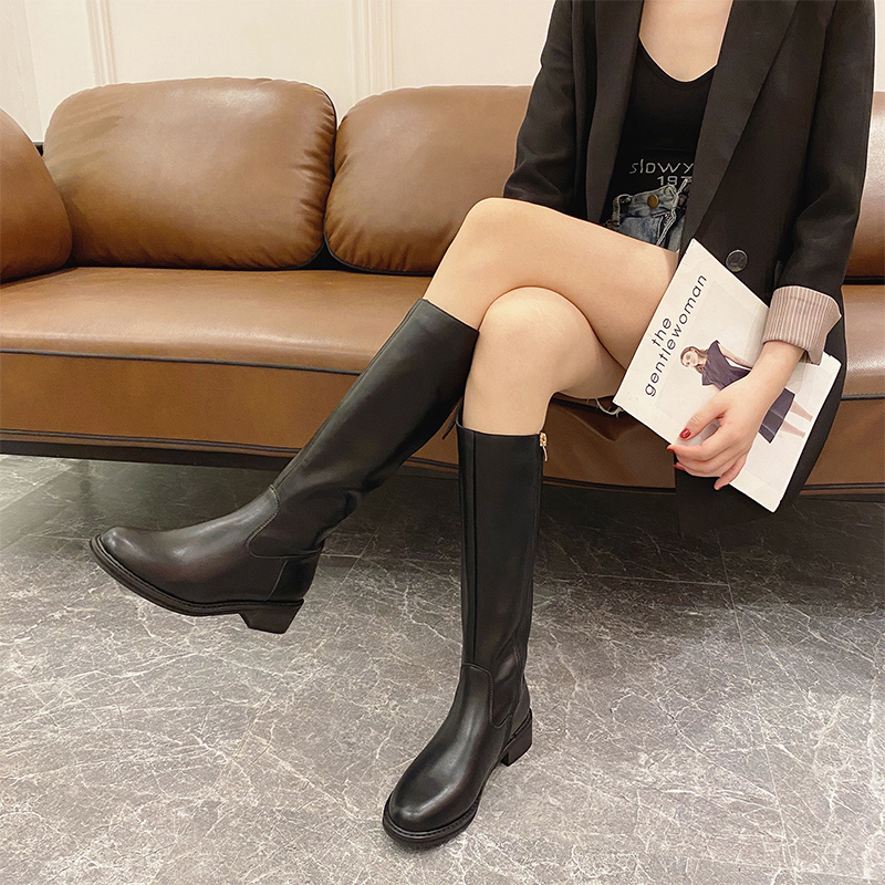 Autumn 2020 new style boots not over the knee show thin thick heel elastic boots Knight boots square head riding boots high leather boots