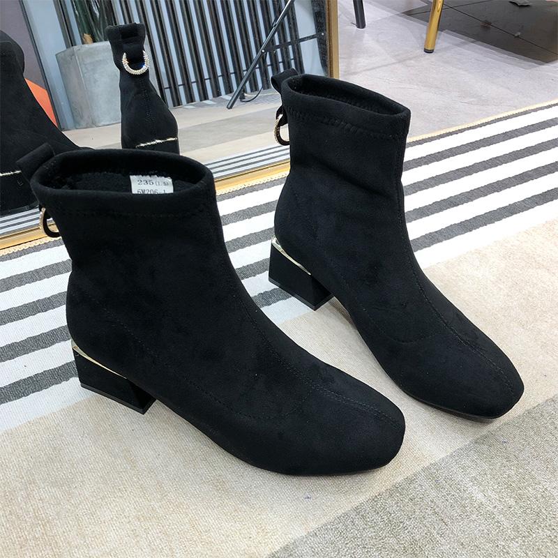 CLASSIC MICKEY short boots women 2020 new autumn / winter shoes net red short tube medium high heel slim Martin boots elastic boots