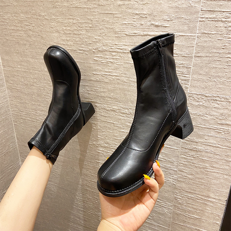 Fashion short boots womens thick heel fall 2020 new Martin boots retro British style big boots thin and elastic boots trend