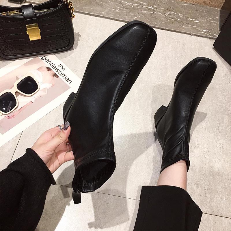 马丁靴女英伦风2020秋季新款百搭时尚粗跟网红瘦瘦靴高跟方头短靴