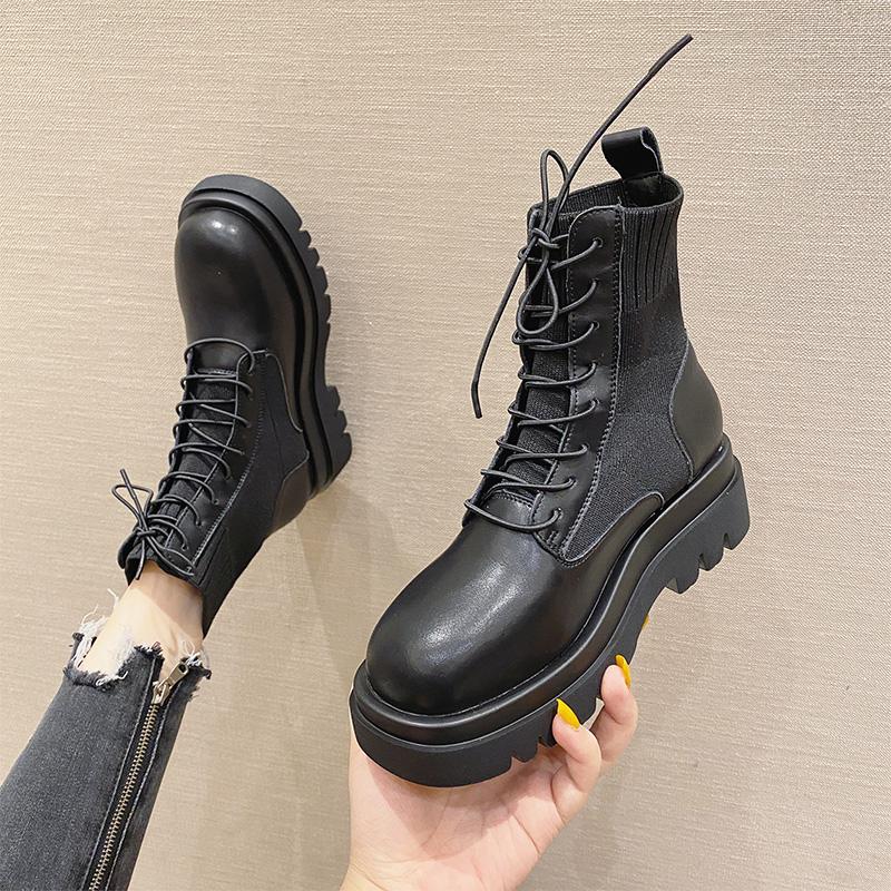 2020秋季新款松糕厚底时尚系带马丁靴女单靴百搭真皮切尔西短靴女