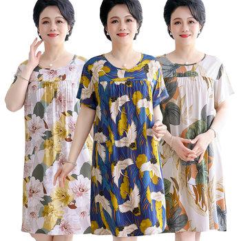 中老年睡裙夏天中年人造棉连衣裙