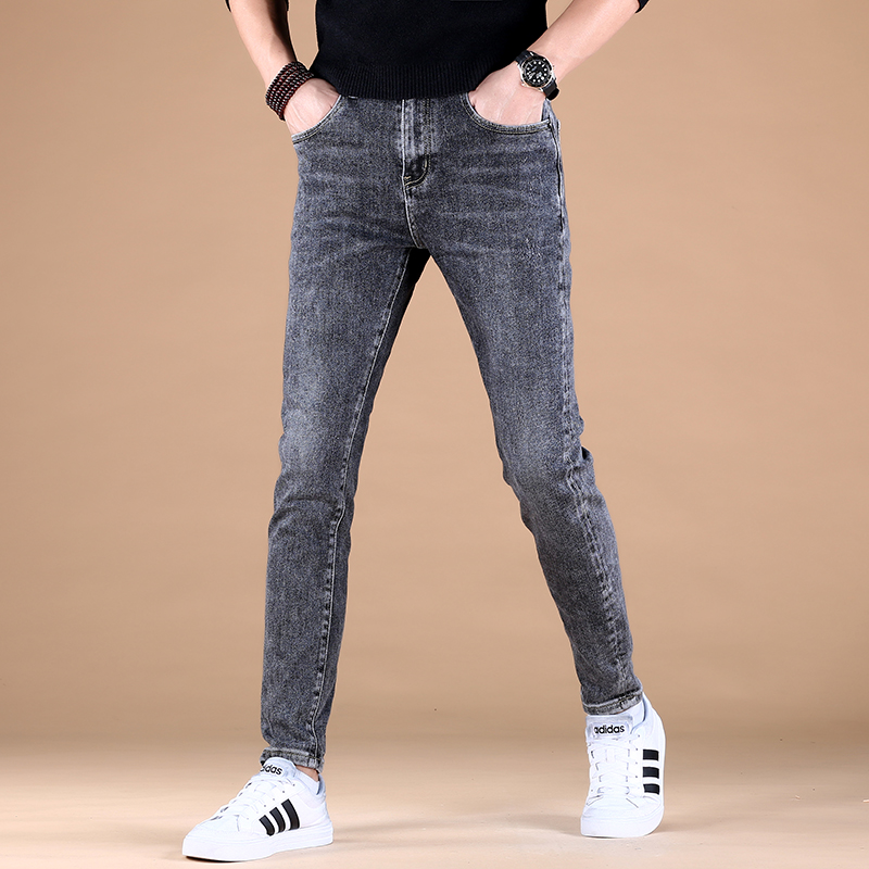 Mens spring and autumn 2021 tide brand elastic leisure thick small foot slim fit mens net red jeans pants trend Korean version