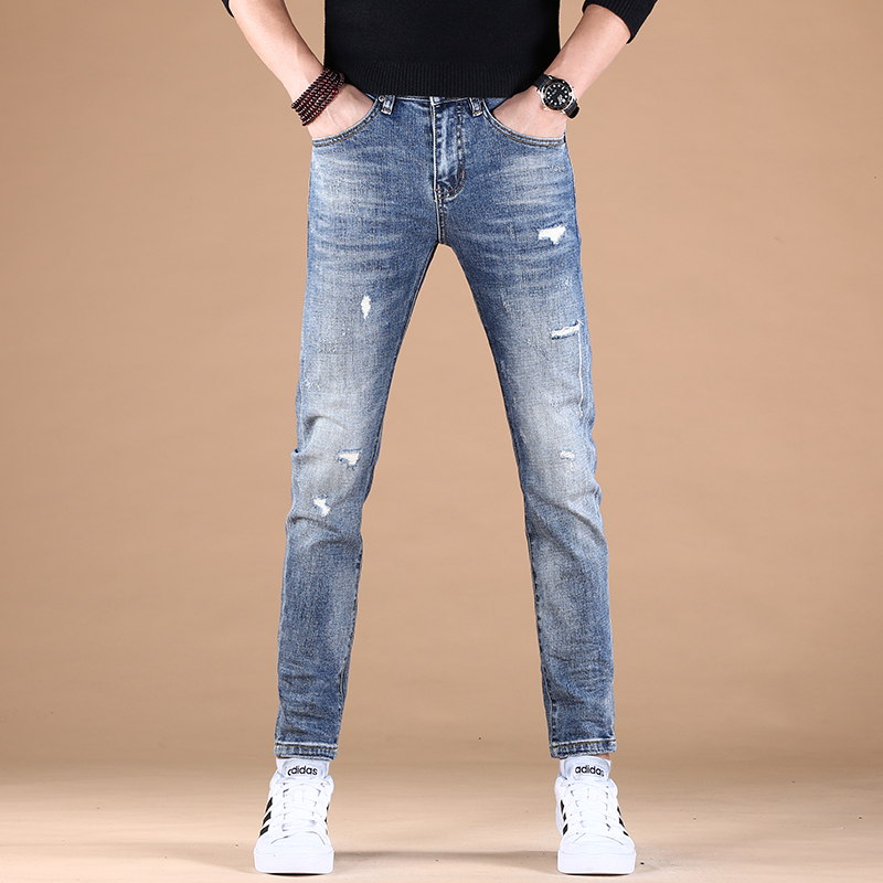 Pants tide brand slim fit spring and autumn mens thick 2021 net red elastic small feet mens Korean jeans trend leisure