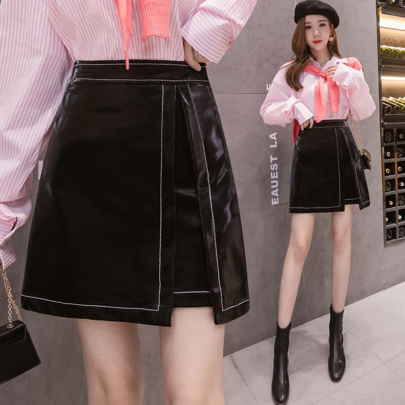 2020秋冬新款明线装饰A字裙丝光PU皮裙女气质高腰显瘦开叉半身裙