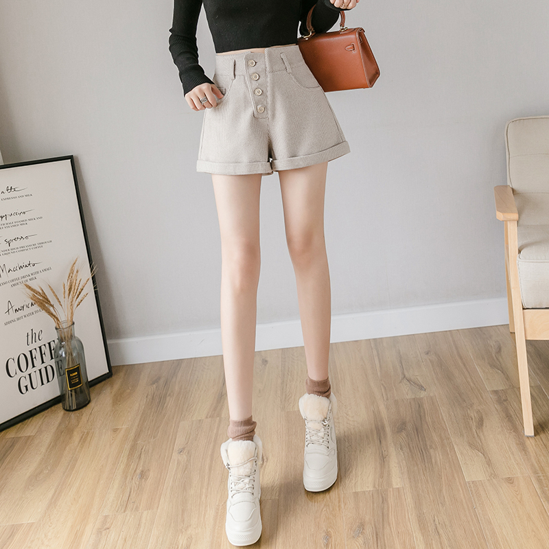 Autumn and winter 2020 new versatile slim fit high waist breasted wide leg woolen shorts fashion slim pants children