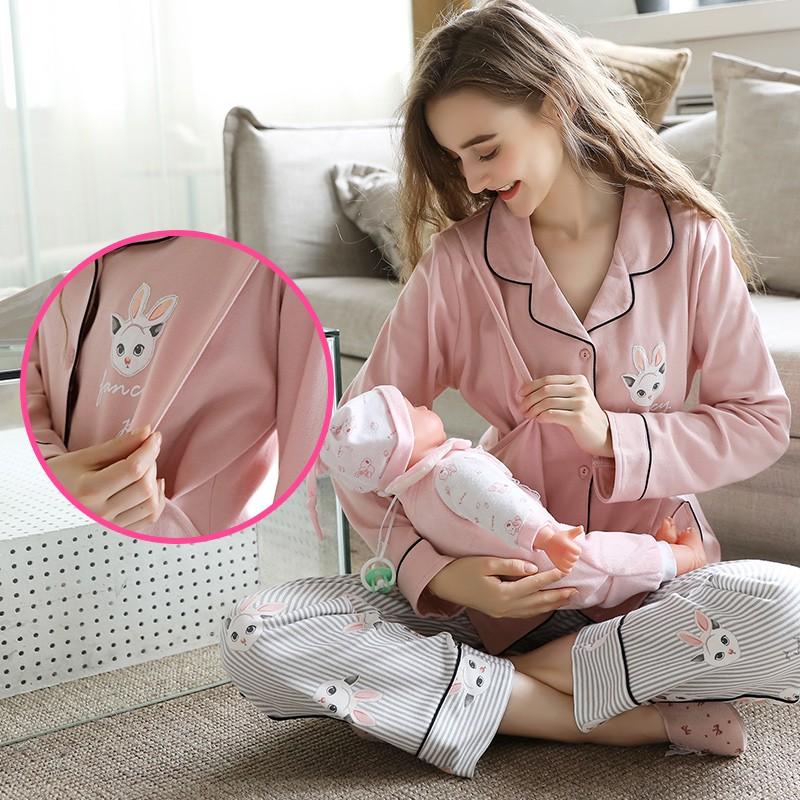 月子服春秋孕妇睡衣3月份4纯棉5夏季薄款产后6哺乳衣产妇喂奶吸汗