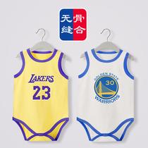 婴儿纯棉背心三角包屁哈衣夏季睡衣NBA篮球服勇士库里湖人詹姆斯
