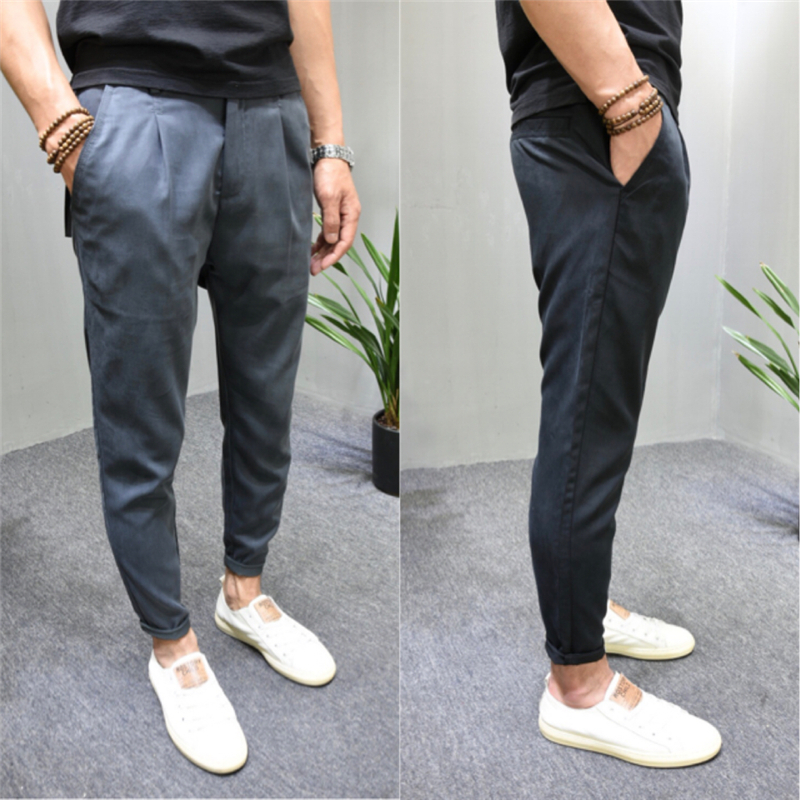 2020 new cotton grey youth small foot tapered mens casual pants Korean slim and handsome plain pure color