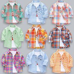 男童纯棉衬衣长袖宝宝衣童装儿童薄款衬衫格子女小童春秋季外穿