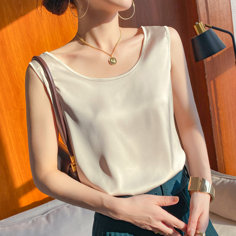 Silk suspender vest womens solid color versatile Satin sleeve less summer V-neck with suit and undercoat