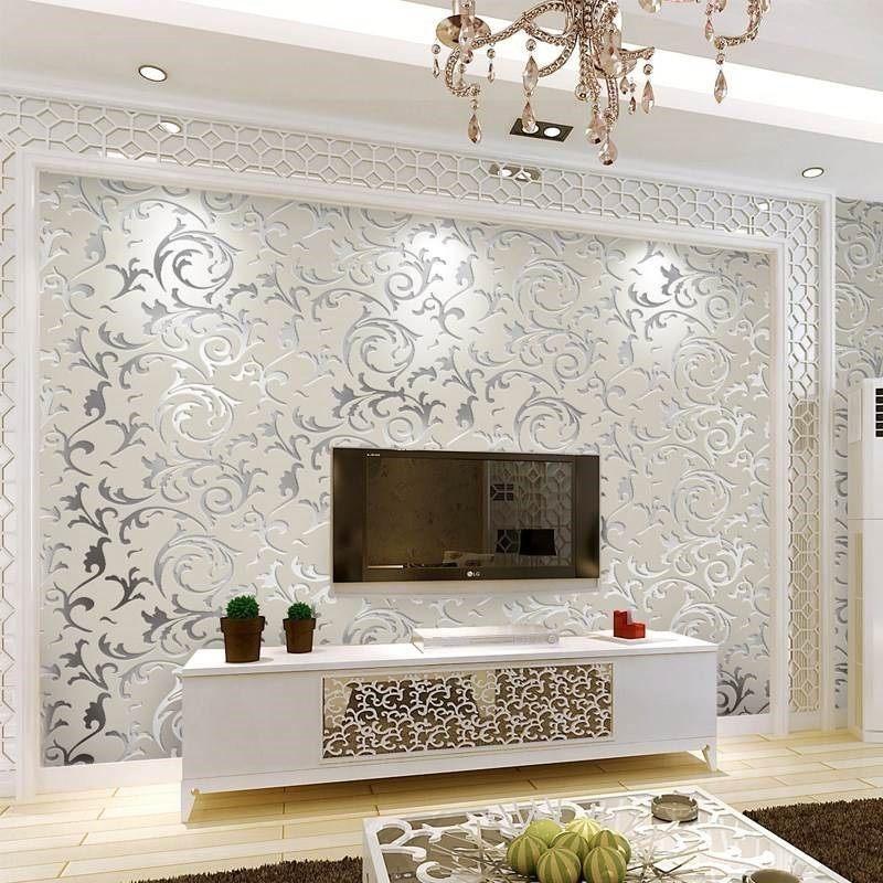 卧室婚房中国客厅有图案电视背景墙墙纸无纺布温馨家装主材