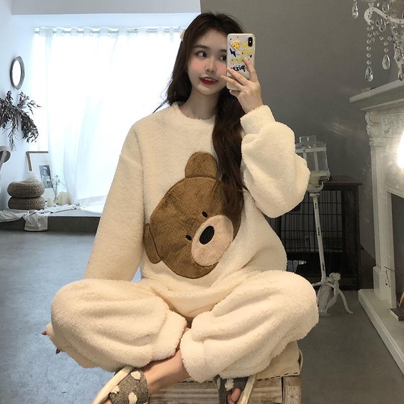 韩版睡衣女冬加厚加绒套装新款珊瑚绒ins小熊外穿可爱甜美家居服