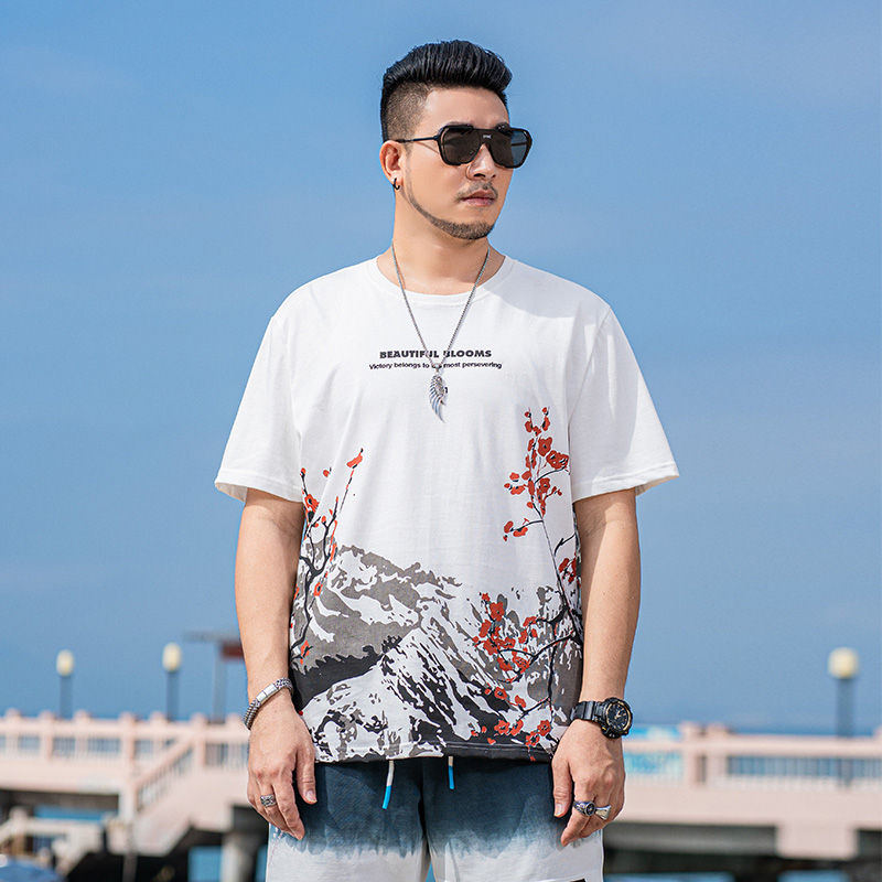 Solothink short sleeve t-shirt mens fashion high end big size fat clothes trend peach blossom pattern personality couple top