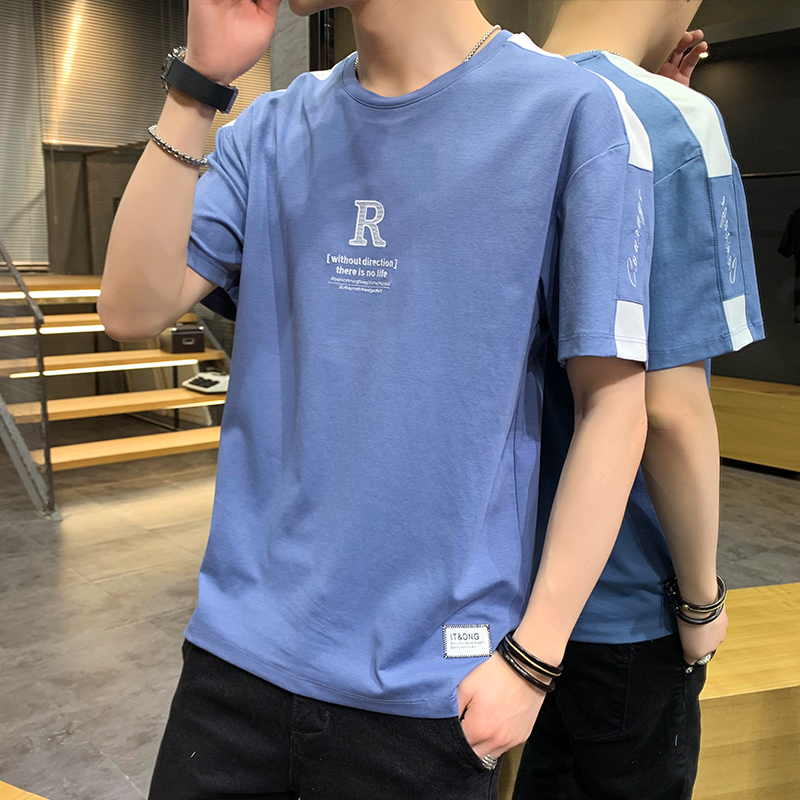 2020 new R embroidery short sleeve T-shirt summer mens students 5 / 1 / 2-sleeve bottoming T-shirt