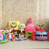 海绵宝宝毛绒玩具章鱼哥珊迪蟹老板派大星小蜗海星蜗牛公仔玩偶热
