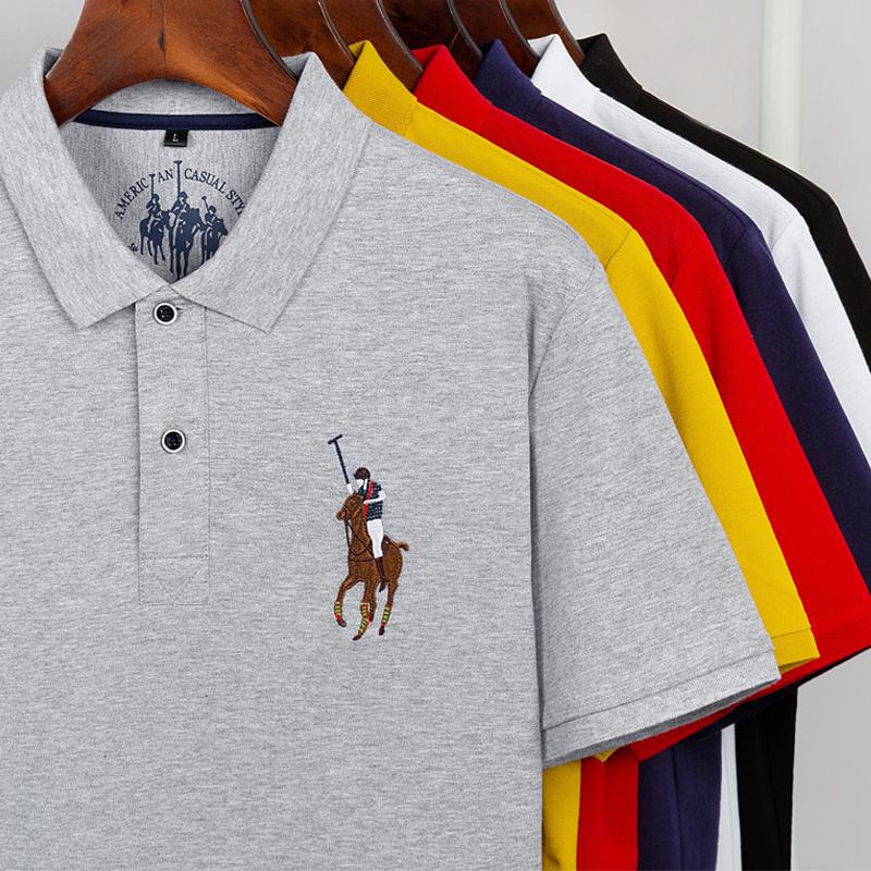 翻领polo衫男短袖夏季新款刺绣大马标高端商务保罗衫马球半袖T恤