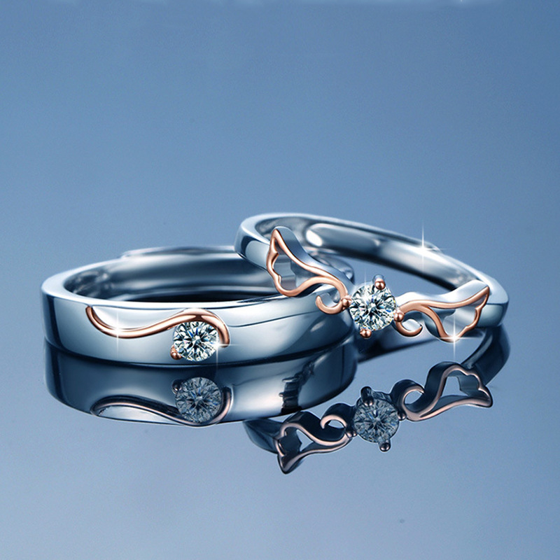 S925 Sterling Silver Angel wings open the ring
